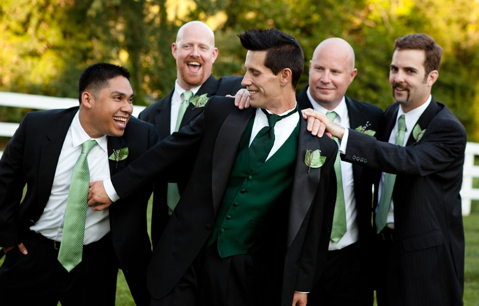 Groomsmen express their excitement for the Groom's wedding day!