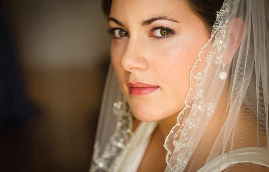 Bride with her beautiful veil