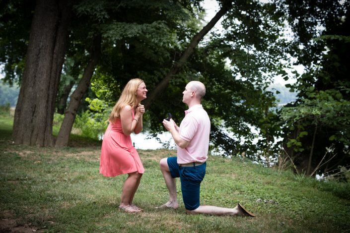 Sweet guy proposing couples wearing pink | Anne Lord Photography