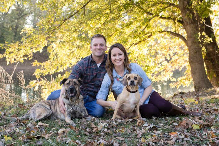 Happy couple with their dogs | Anne Lord Photography