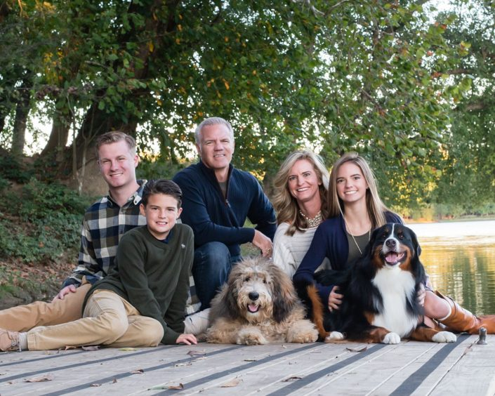 Happy Family with three children and two dogs | Anne Lord Photography